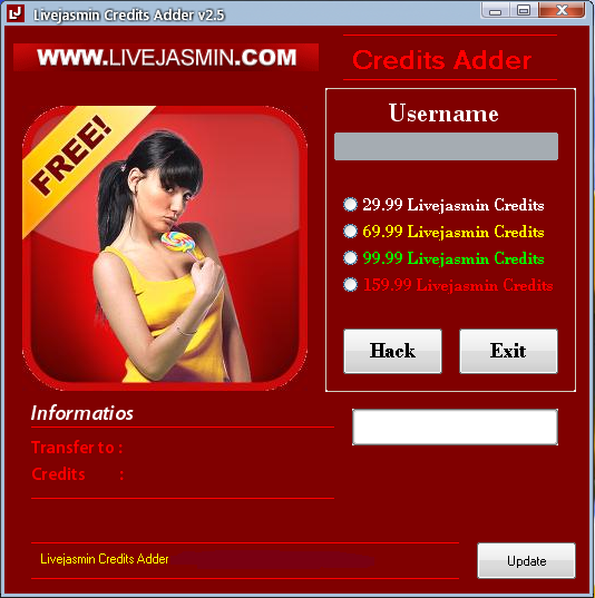 Livejasmin Credits Adder 2014, to increase your Livejasmin Credits