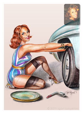 personalized pin-up art with a car