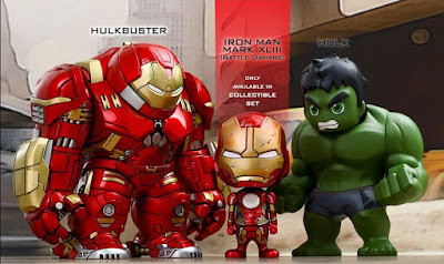 "Avengers: Age of Ultron Cosbaby Series 1.5 Vinyl Figures by Hot Toys - Hulkbuster Iron Man, the Incredible Hulk & ""Battle Damaged"" Iron Man Mark XLIII"