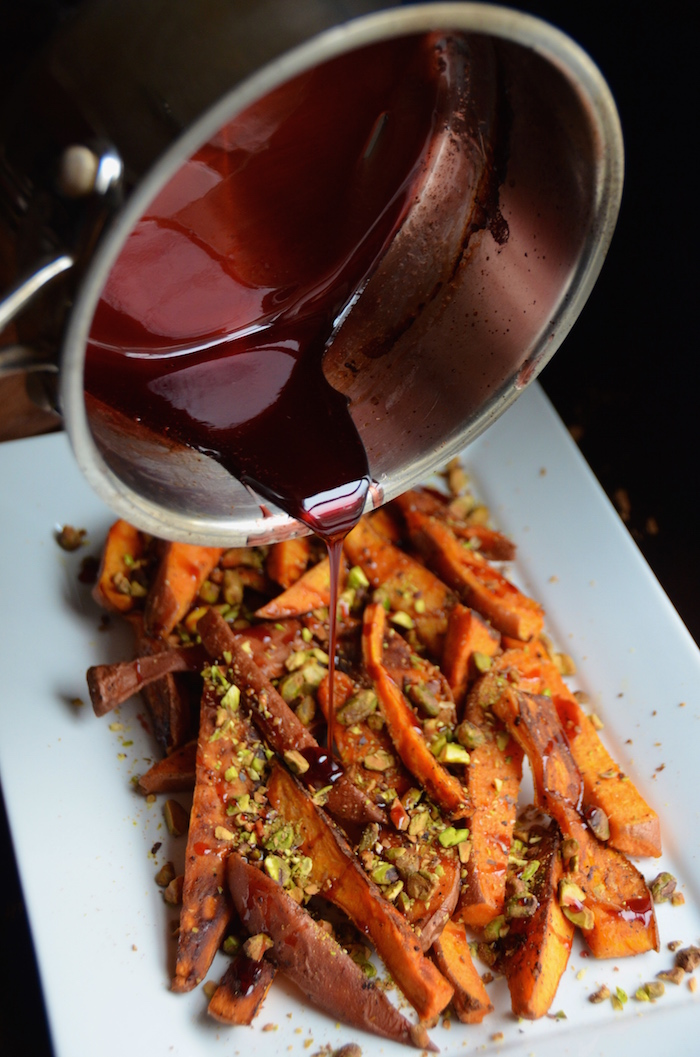 Roasted Sweet Potato Wedges with Pistachios, Goat Cheese & Pomegranate ...