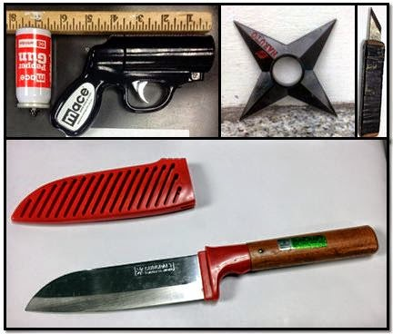 Pepper spray gun (ORD), Throwing Star (SFO), Shiv (BUF), Kitchen Knife (BUF)