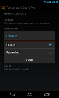 android temperature scale