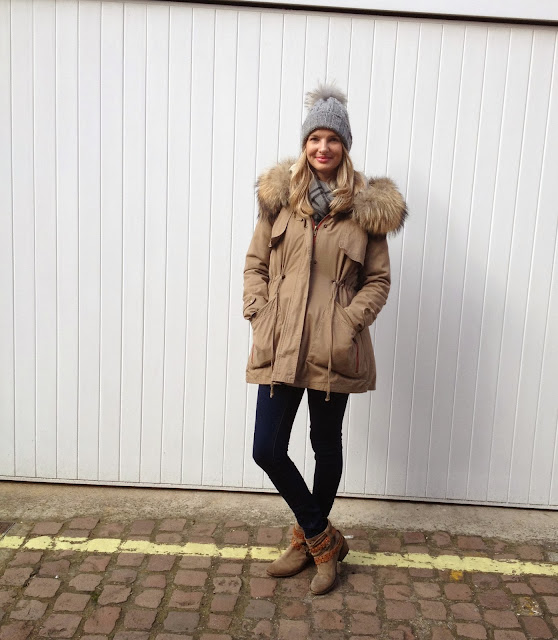 Woolie hat, minusey, parka jacket, russell and bromley, fblogger