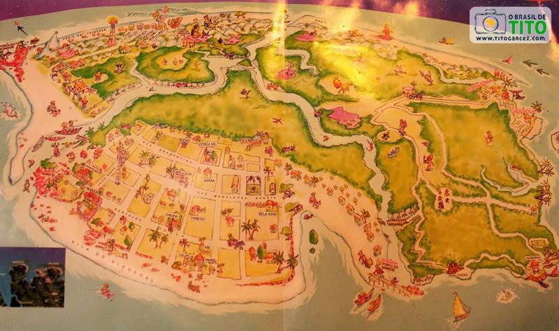 Mapa da ilha do Algodoal ou ilha de Maiandeua, no Pará