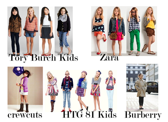 Burberry, crewcuts, Zara, Forever 21, Tory Burch kid clothes