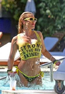 Jennifer Nicole Lee Yellow Bikini Batman swimwear Miami