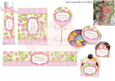 rotulos personalizados floral verde e rosa