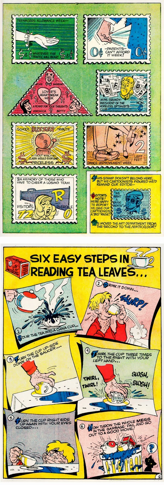Archie's Madhouse 9 and 10--Stamps for Teens and How to Read Tea Leaves