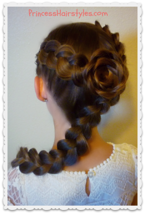flower girl hairstyle, dutch braid rose