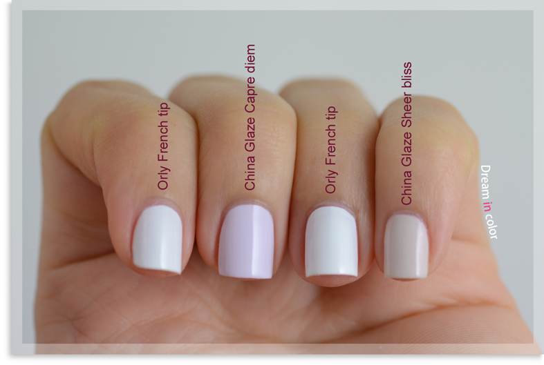 Orly French tip China Glaze Carpe diem China Glaze Sheer bliss