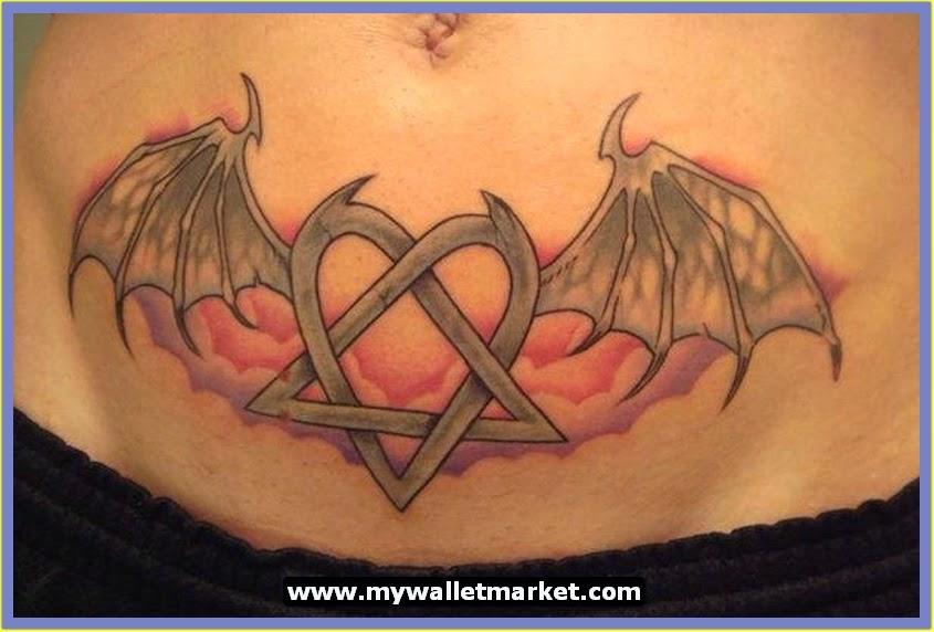 Bat Heart Tattoo Abdomen-tattoo-design-bat