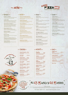 Pizza Me, Bolton - Menu