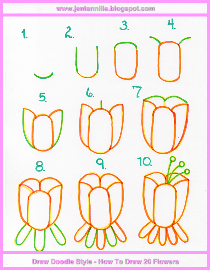 Tulip Flower Doodle Drawing Tutorial Cute