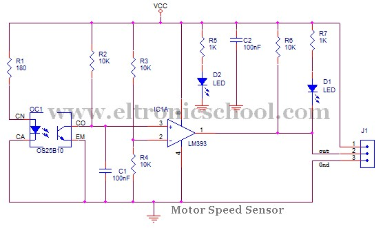 Circuit schematic dc motor speed sensor using os25b10 and for Motor current sensing circuit