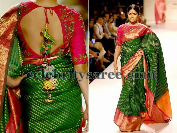 Green Silk Polka Dots Saree