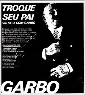 Lojas Garbo,  1970. História da década de 70. Propaganda nos anos 70. Brazil in the 70s. Oswaldo Hernandez.