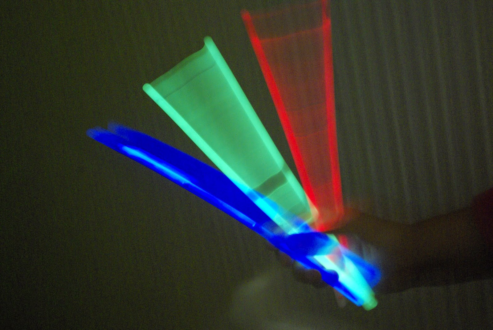 Green, Red and Blue Glow Sticks
