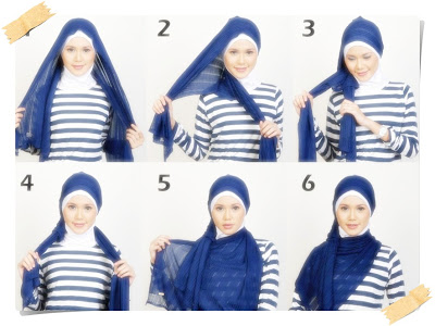 cara memakai jilbab untuk wajah bulat