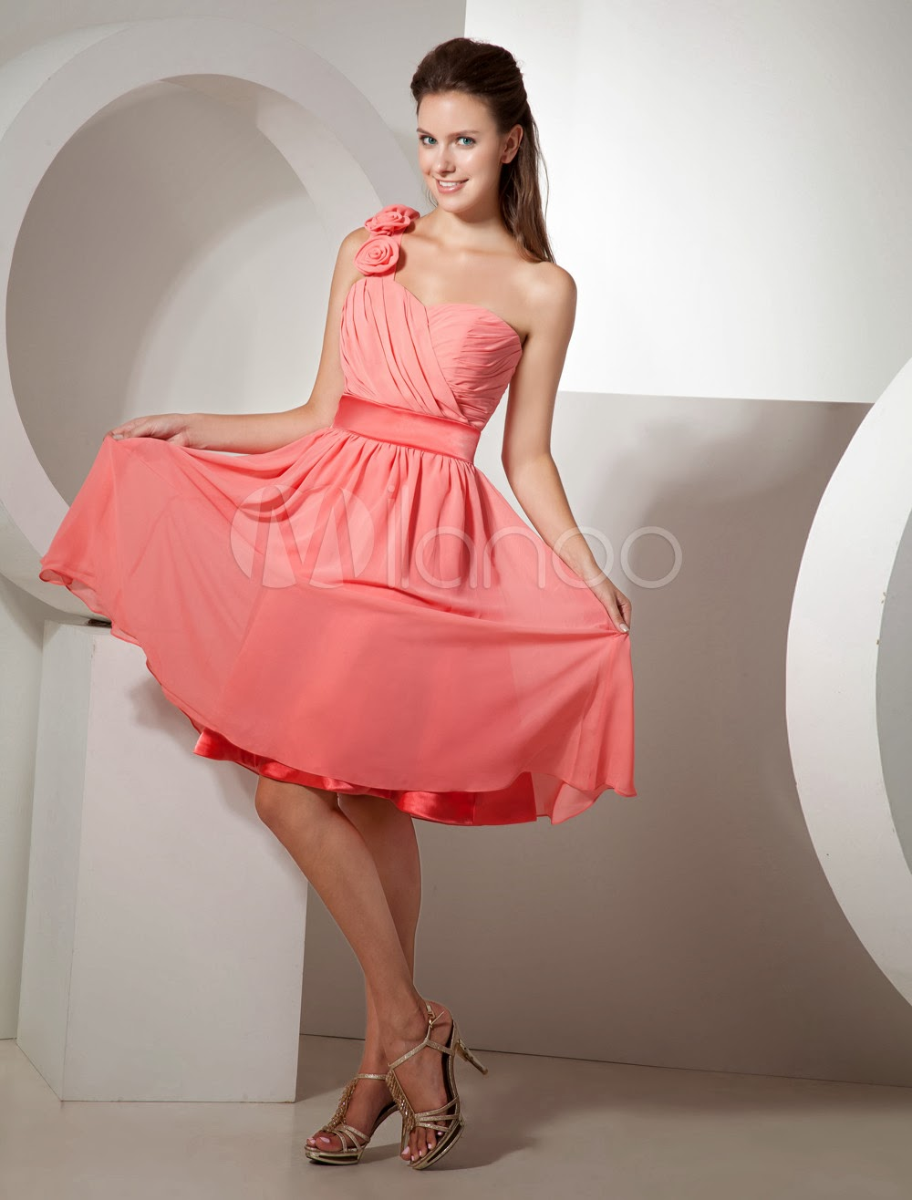 China Wholesale Cocktail Dress - Charming One-shoulder Chiffon Knee Length Womens Bridesmaid Dress