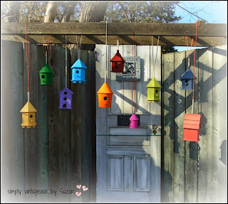 Dollar Store birdhouses outdoor decor