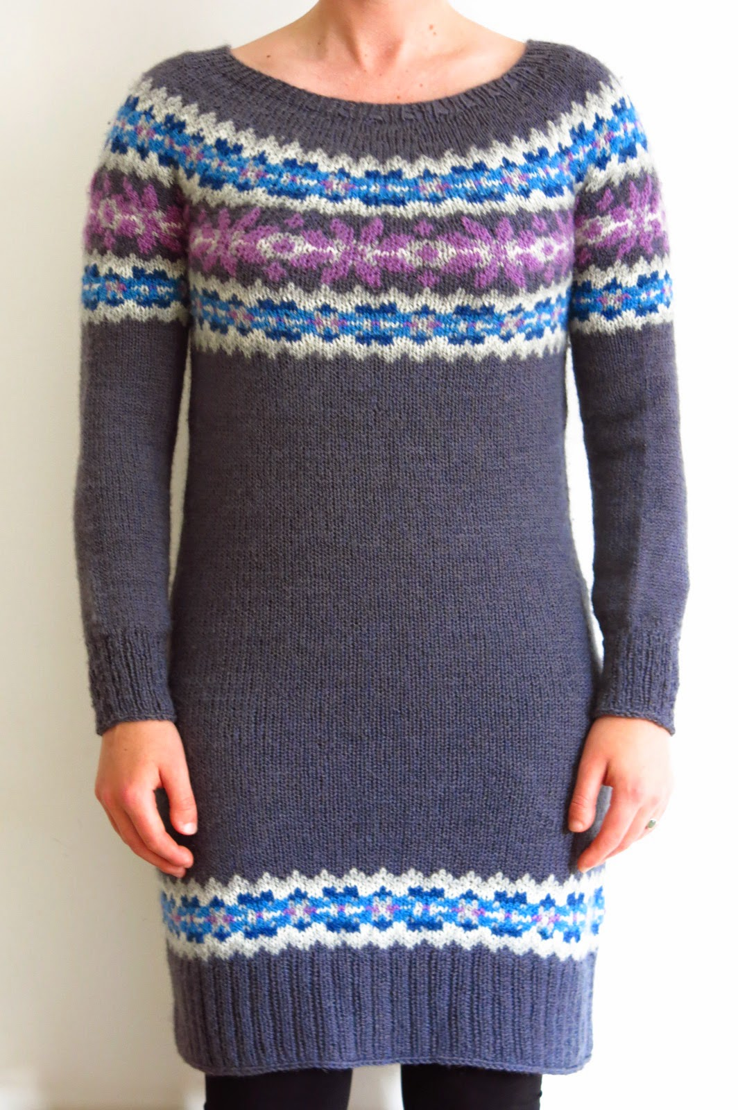 fairisle fair isle sweater dress knitting pattern