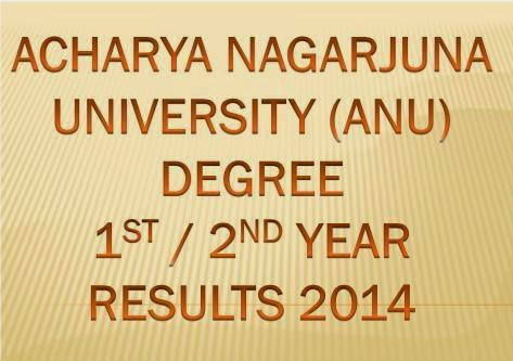 ANU Degree 1st, 2nd Year Results 2014 Marks |  Acharya Nagarjuna University Degree First , Second Year Results 2014