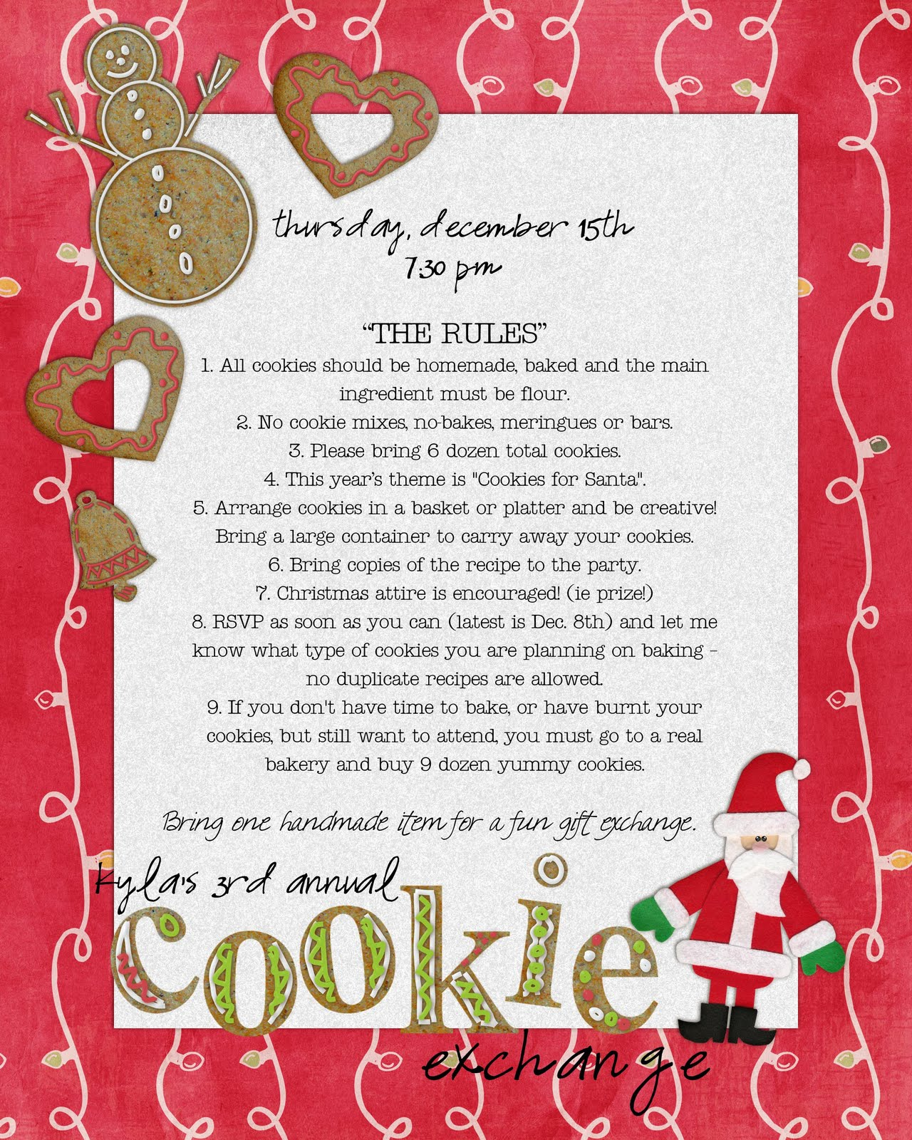 Feb 19, · The best Christmas cookie exchange party favors are edible gifts. For an oh-so-sweet holiday hostess food gift, layer the ingredients of your favorite Christmas cookie in a quart jar and fasten the lid, using a festive ribbon for decoration. Include the recipe and simple baking instructions on a sfathiquah.ml: Better Homes & Gardens.