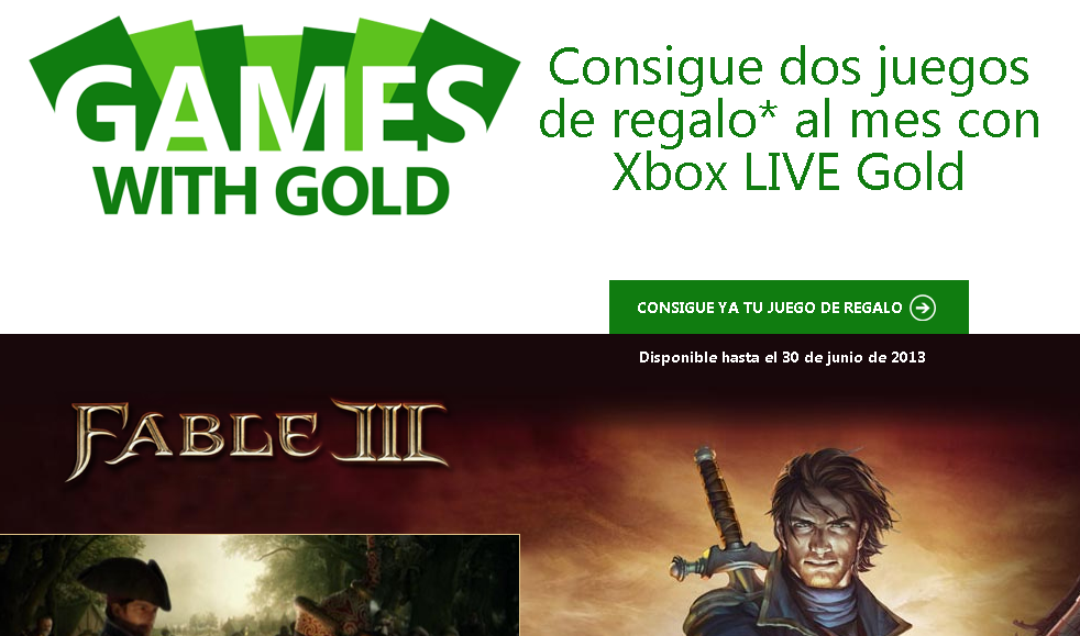 Imagen oficial de Game with Gold en Xbox.com