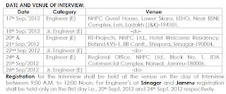 NHPCL recruitment for Junior Engineers 17 September 2012, 18, to 26 in Shrinagr, leh, shivpura, narwal