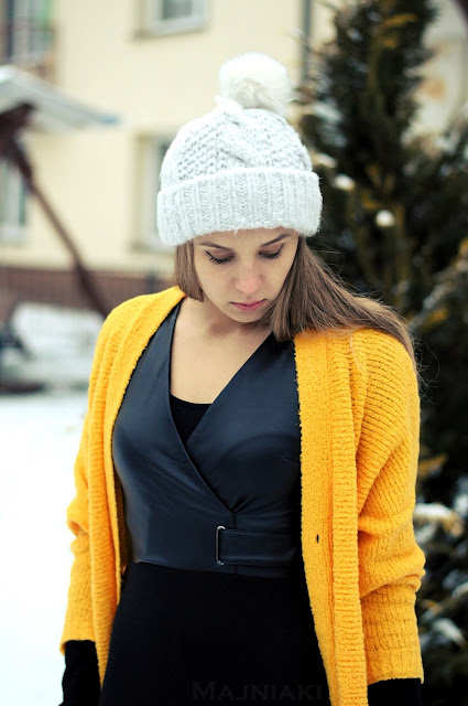 Yellow cardigan & black mini dress