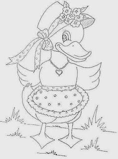 desenho de patinha com chapeu e avental para pintar