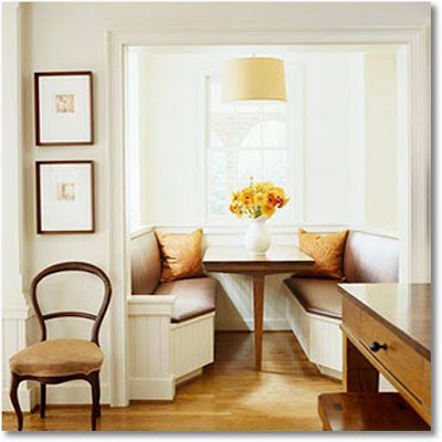 Banquette seating dining room kitchen table pedestal modern traditional pillows alcove white - Small kitchen banquette ...