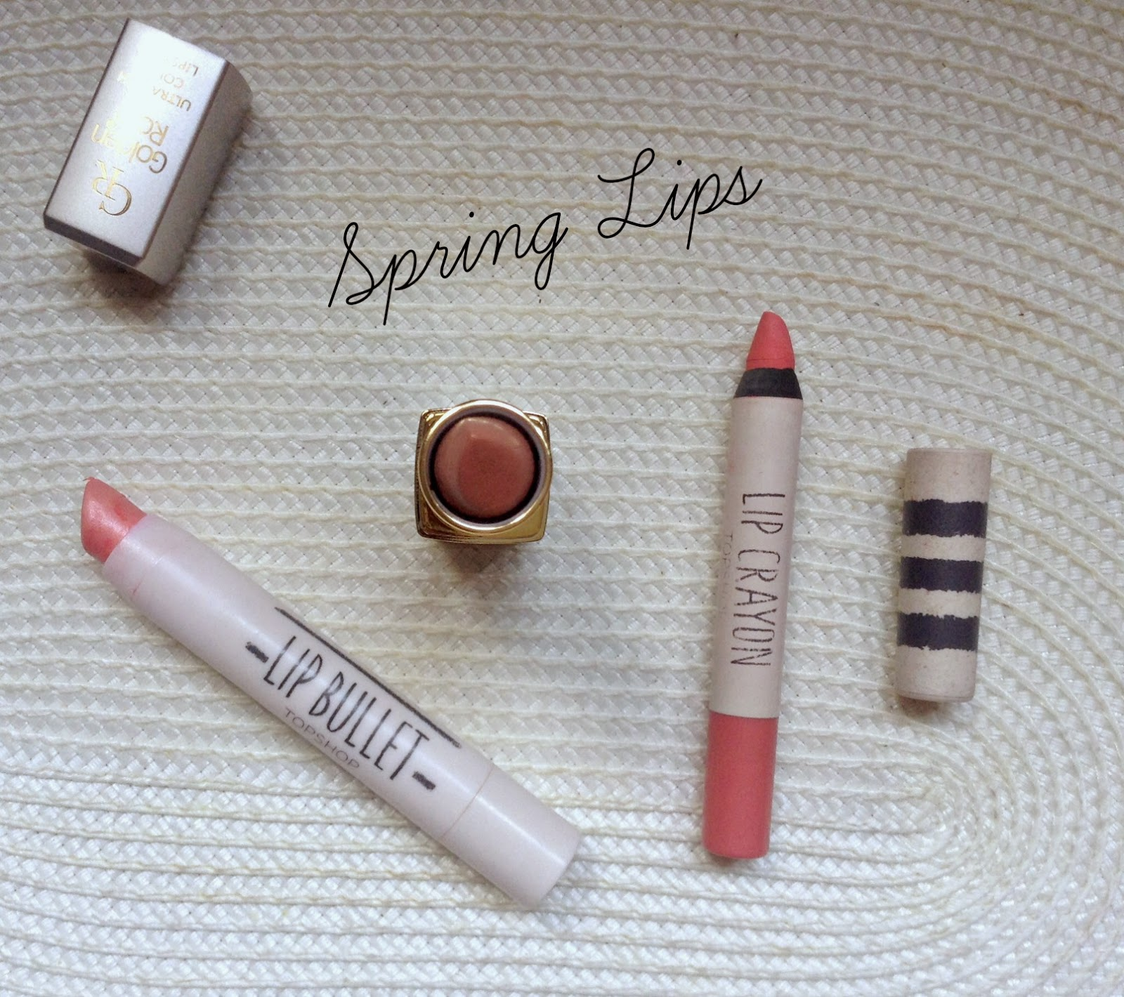 Golden Rose - Topshop Lip Bullet - Topshop Lip Crayon swatches spring lips