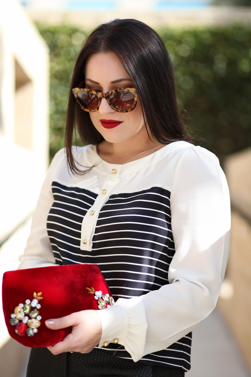 velvet-embellished-clutch-kate-spade-nautical-blouse-new-girl-zoe-deschanel-stila-fiery-lipstick
