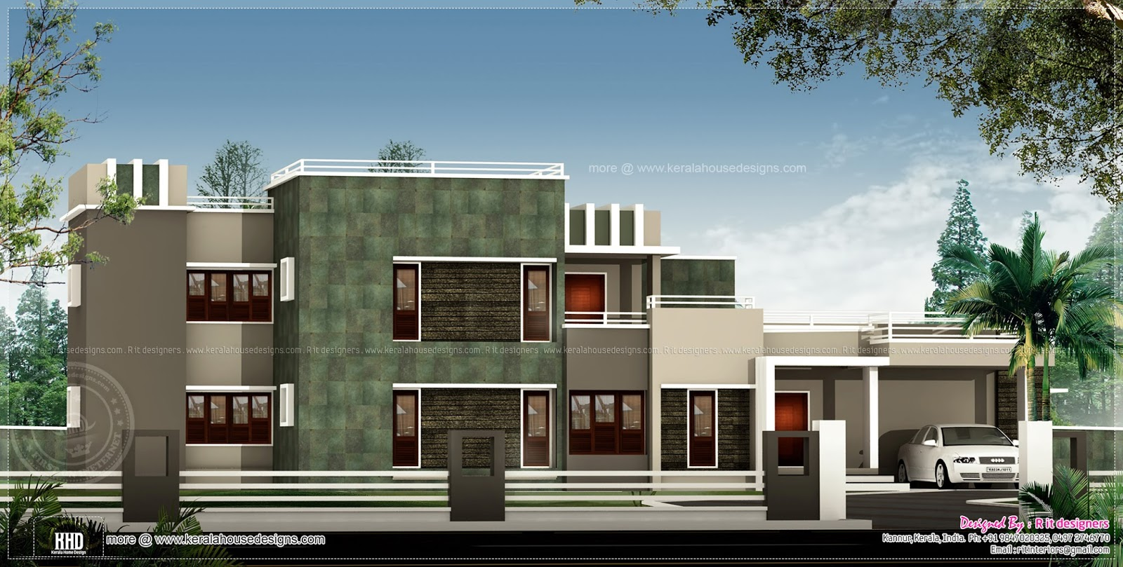 Unique contemporary home in 2993 sq feet home kerala plans for Cool modern houses