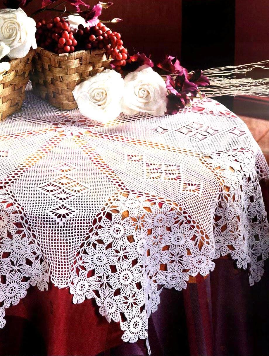 Tejidos artesanales en crochet gran estrella en punto de red - Esquema punto estrella crochet ...