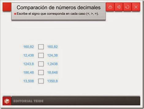 Comparación de decimales.