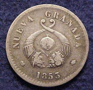 MONEDA COLOMBIA 1853 PLATA $