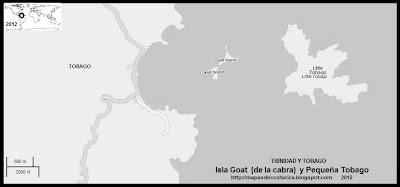 Isla Goat (de la cabra) y Pequeña Tobago, TRINIDAD Y TOBAGO, blanco y negro (OpenStreetMap)