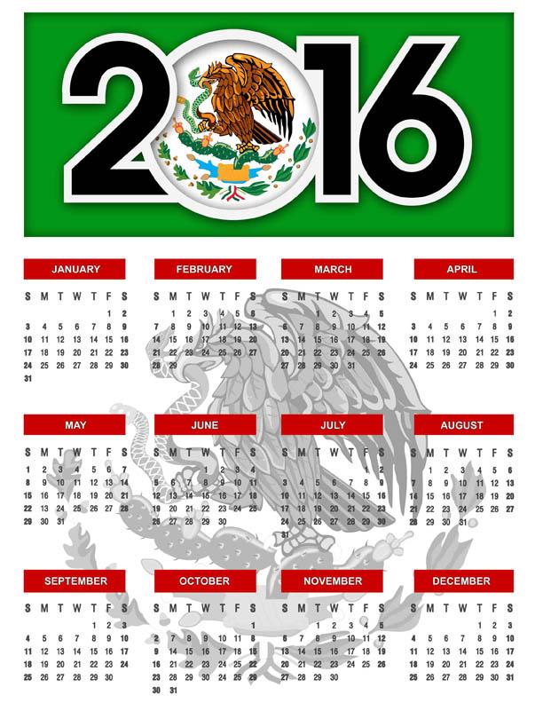 Calendario 2016 en inglés - Calendarios gratis para Photoshop