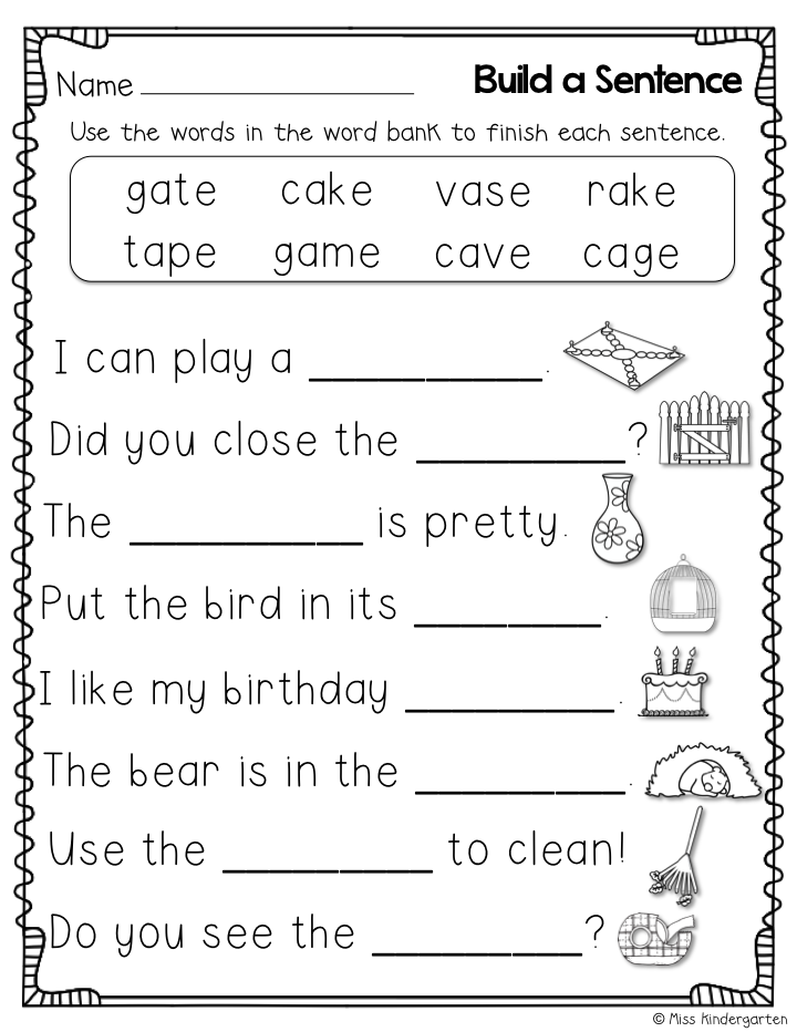 Cvce worksheets for first grade