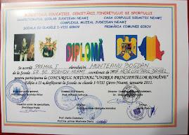 """Diploma obţinută de Bogdan Munteanu, (a XI-a C ) la Concursul Naţional """"Unirea Principatelor"""", 2011"""