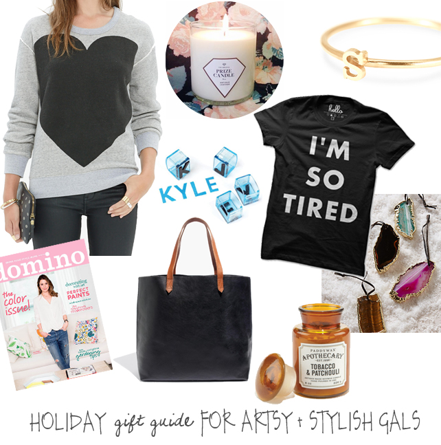 A holiday gift guide for artsy and stylish gals from Lesley Myrick Art + Design. #giftguide #holiday #christmas