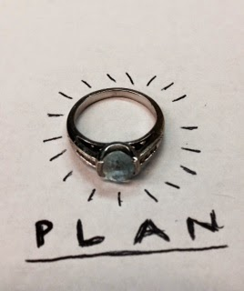 Image is of an engagement ring with a blue stone. I have doodled around it and wrote the word plan underneath it.