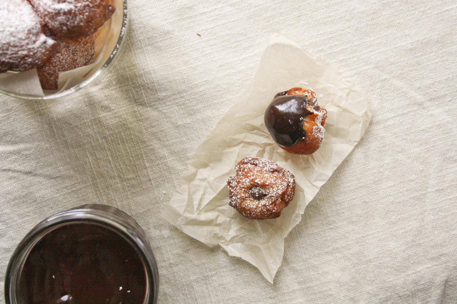 Nutella Zeppole with Dark Chocolate Sauce | Hint of Vanilla