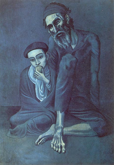 Picasso Old Man Painting Black And White