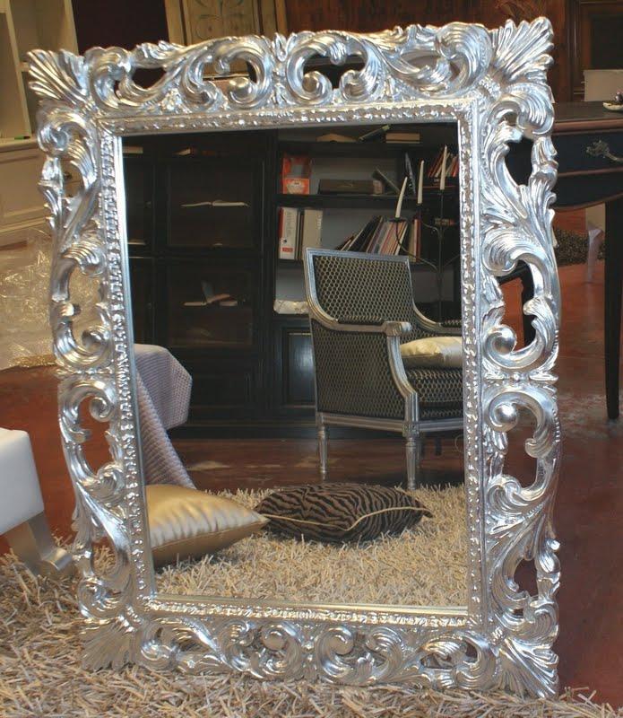 Specchiera in legno cornice barocca intagliata in foglia - Specchio cornice nera barocca ...
