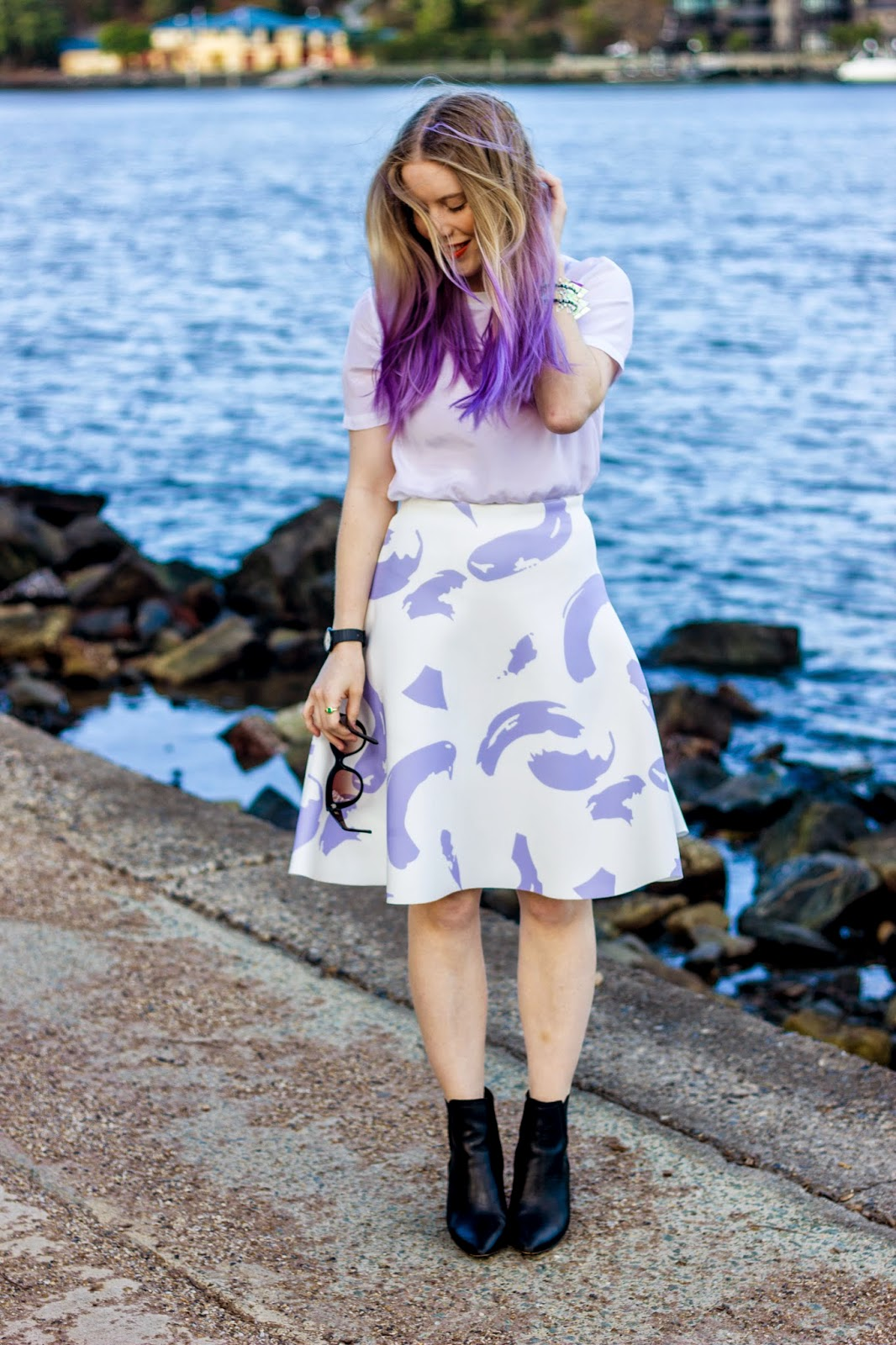 Pip O'Sullivan fashion blog, outsideiscolours, outside is colours blog, Pedestrian Blogster Awards, purple hair, dip dye, ombre hair, Ciara Clark, perspex jewellery, perspex spike bracelet, iridescent, Brisbane fashion blogger, Sheike, Celine paint strokes skirt, Sheike lilac paint strokes skirt, Glassons silk t-shirt, ASOS leather boots, ASOS Einstein leather ankle boots
