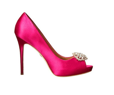 Badgley Mischka hot pink high heeled peep toe pumps with embellishment