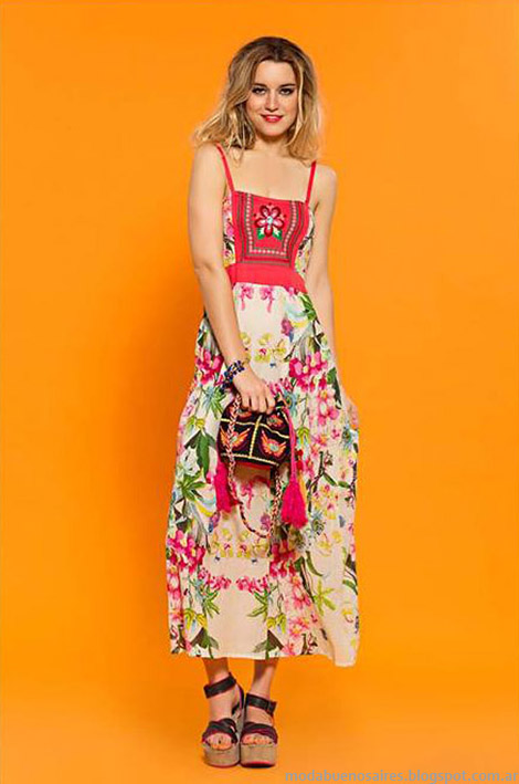 Vestidos bordados estilo boho chic, moda verano 2015, Sophya.